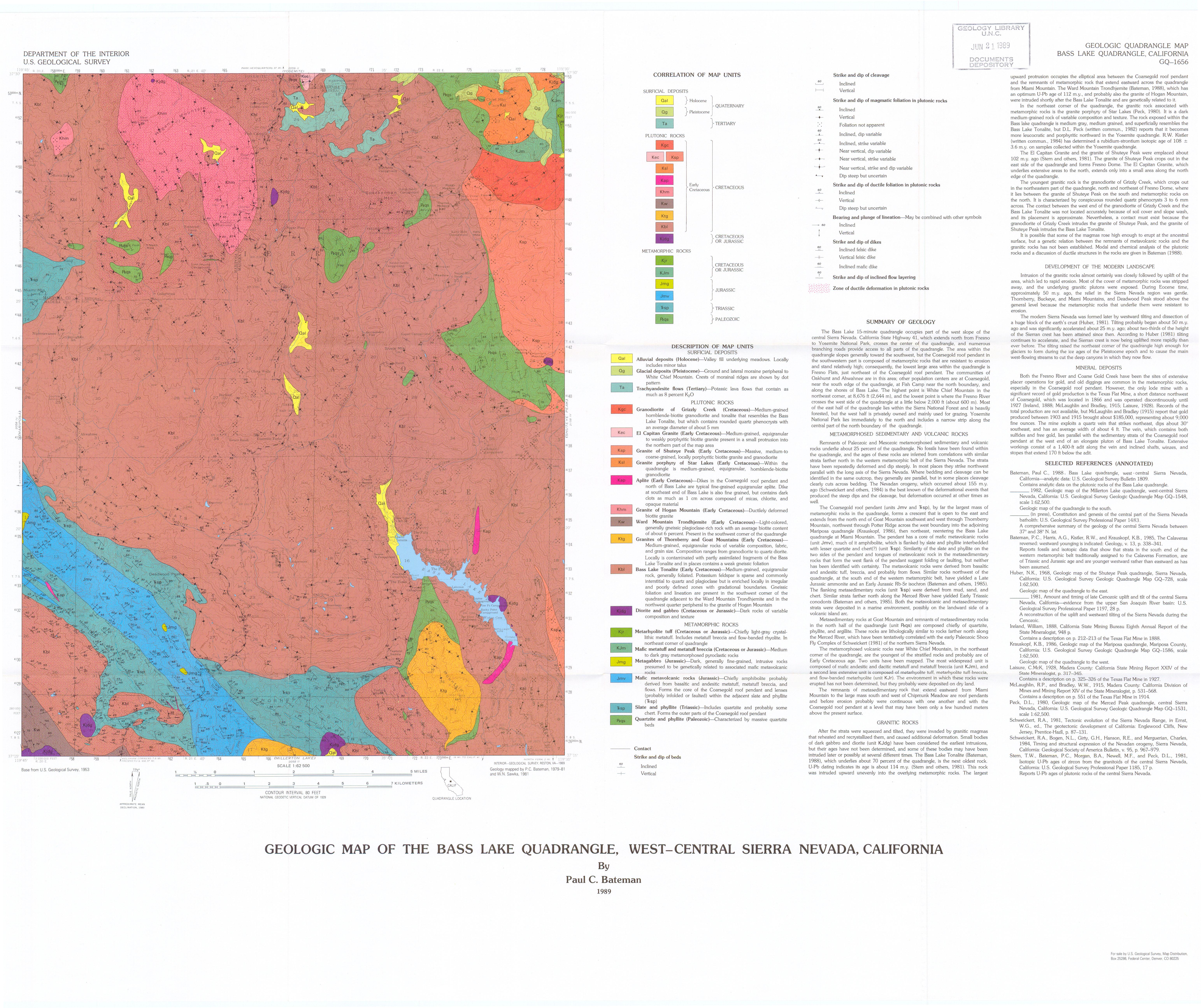 Sierra Nevada Region Quadrangles - California geologic map